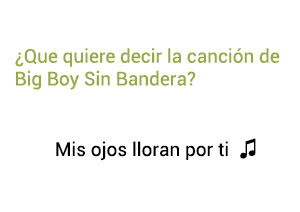 Significado de la canción Mis Ojos Lloran Por Ti Big Boy Sin Bandera.