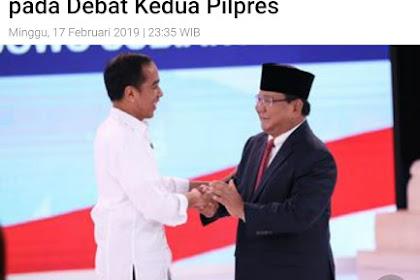 Prabowo Menang Debat, Jokowi Akui Prabowo Sangat Bagus Pada Debat Kedua Pilpres 2019