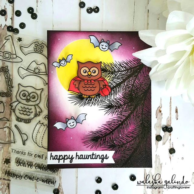 Sunny Studio Stamps: Halloween Card by Waleska Galindo (using Halloween Cuties, Happy Owl-o-ween & Holiday Style)