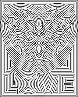 heart knot coloring page- available in jpg and transparent png format #knotwork #coloringpage #hearts #ValentinesDay