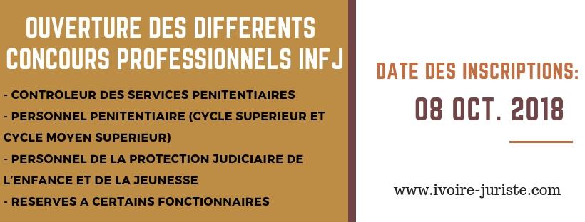 Voici les différents concours réservés à certaines professions des services judiciaires pour l'admission à l'institut national de formation judiciaire (INFJ) pour l'année 2019