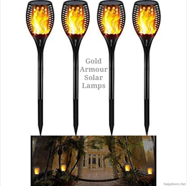 Solar-Chargeable Night Lamps for Pathways - Outdoor LED-Flame Torch Nightlights by Gold Armour