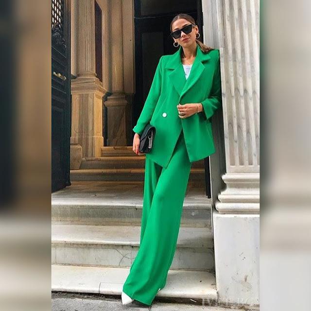 Γυναικείο πράσινο σύνολο FLEM - Blazer και παντελόνα