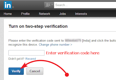 LinkedIn Verify button