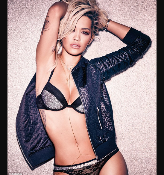 Rita Ora strips to lingerie for the Tezenis Campaign Late