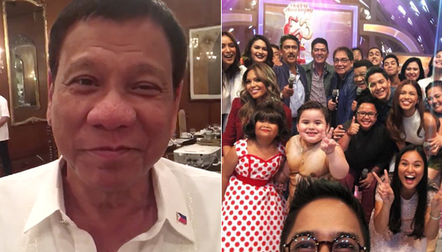 The President of the Republic of the Philippines, Rody Duterte and the longgest-running noontime show on Philippine Television, Eat Bulaga!