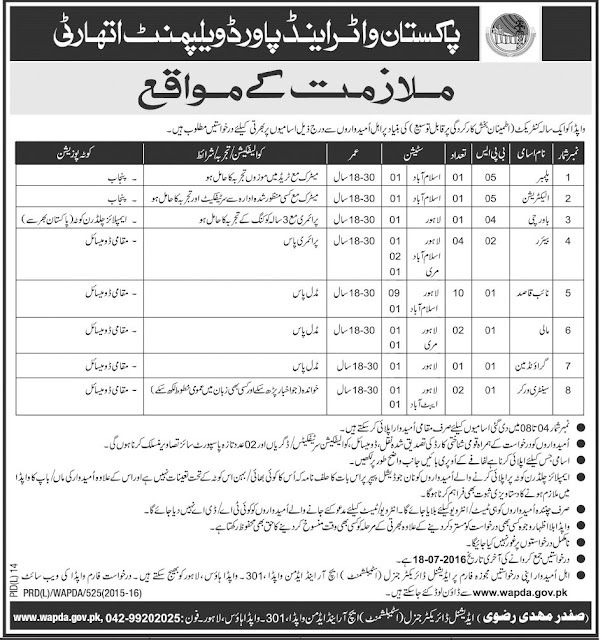 Government Jobs in Pakistan WAPDA Jobs