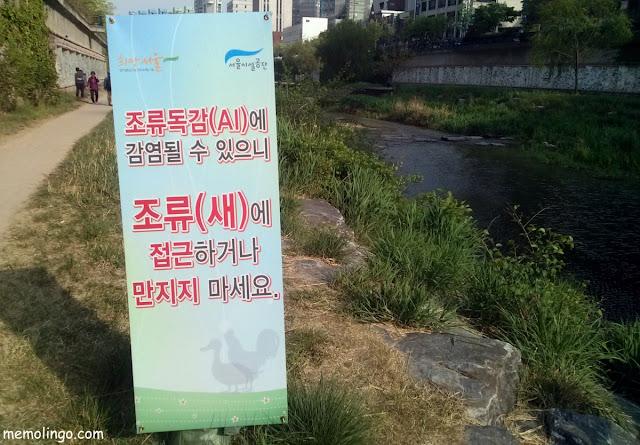 Cartel de aviso contra la gripe aviar en Corea del Sur