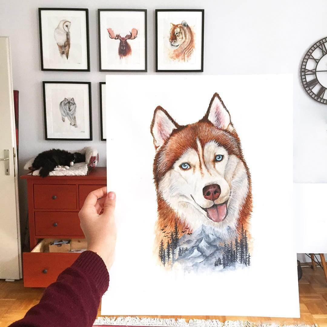 02-Siberian-Husky-Kathrin-Schwarz-Animal-Paintings-in-Different-Styles-www-designstack-co