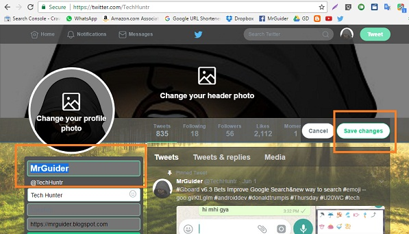 How To Change Name In Twitter On Desktop,In App, In Android Browser