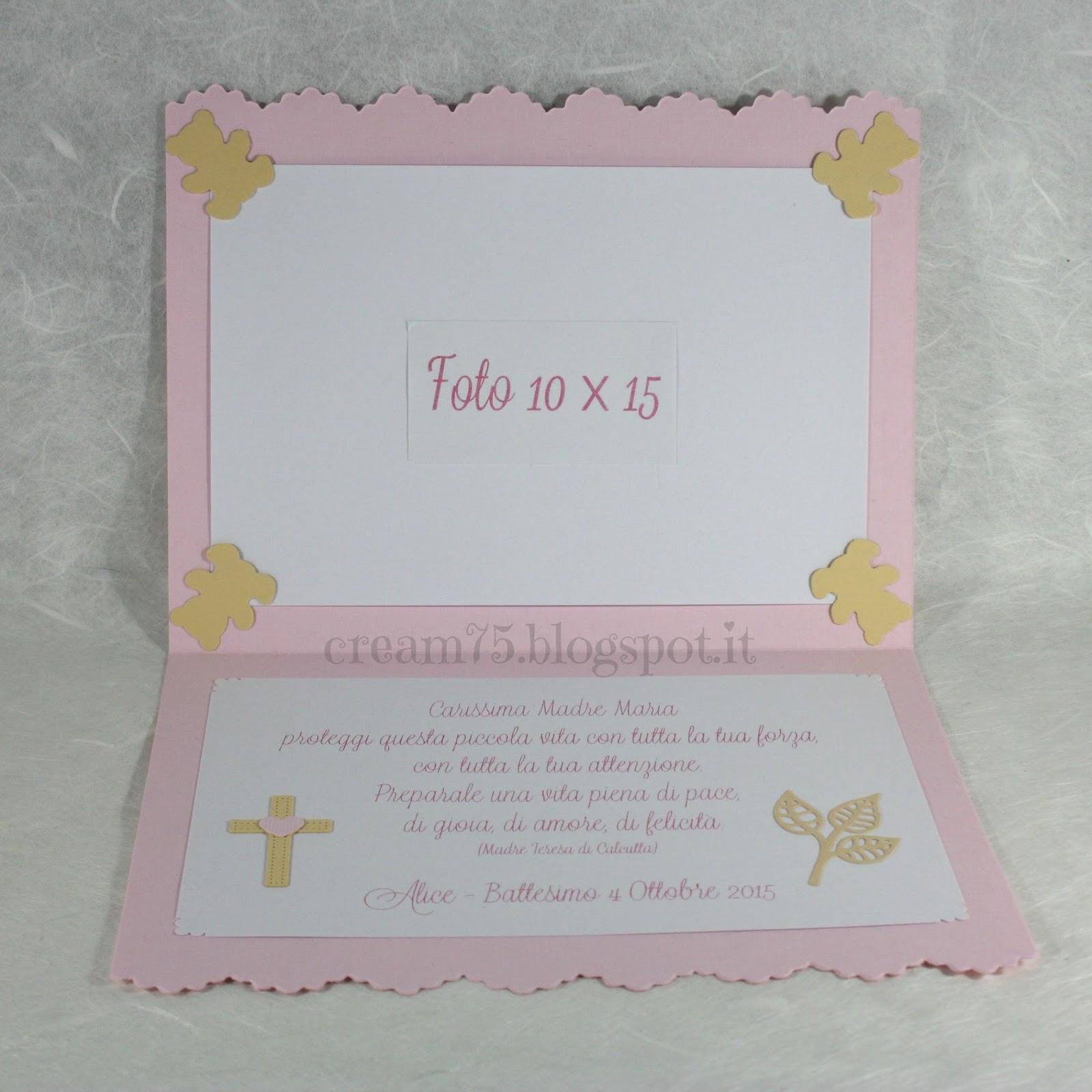 Eccezionale My Sweet Blog: Biglietto regalo ricordo ringraziamento battesimo NP07