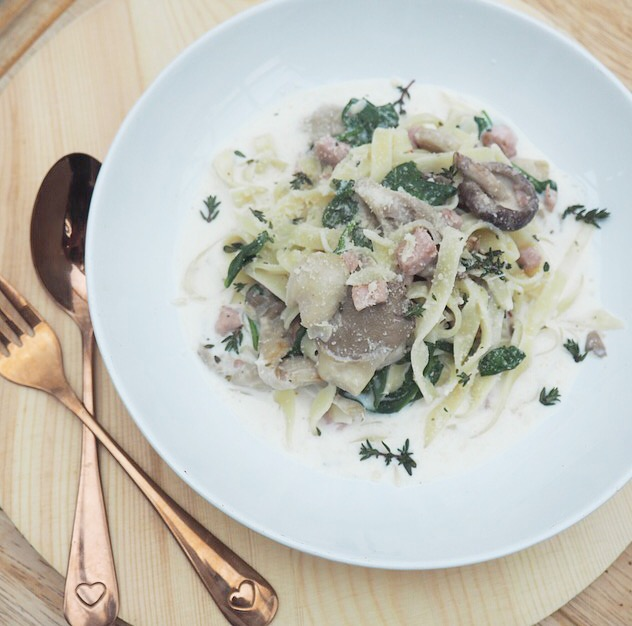 mushroom and pancetta pappardelle