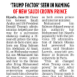 Trump behind Saudi King dumping Cousin for SON Salman