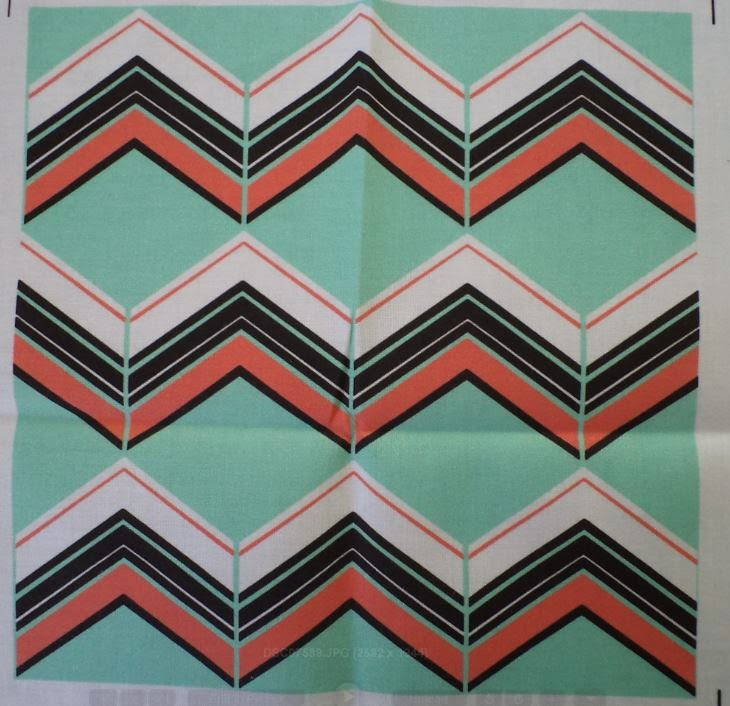 Mint, Coral, B&W Chevron fabric by eSheep Designs