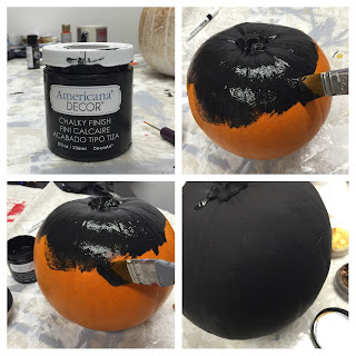 We painted our pumpkin with DecoArt Chalky Finish paint in carbon