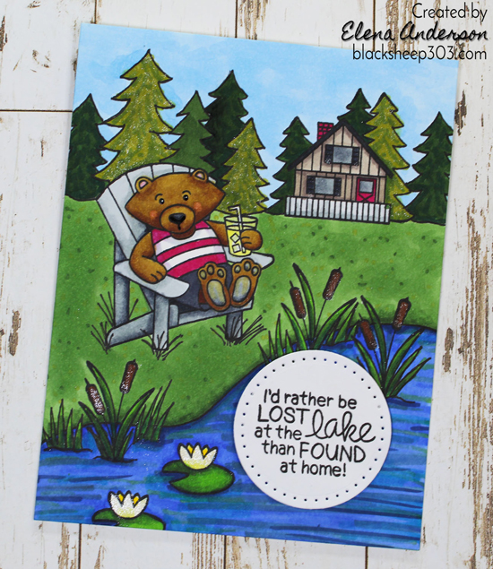 Newton's Nook Designs  - Fan Feature Week -  Lake Card by Elena Anderson using Winston's Lake House Stamp Set by Newton's Nook Designs #newtonsnook #handmade