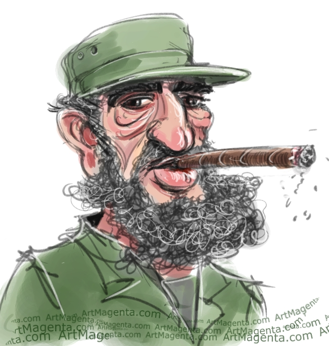 Fidel Castro caricature cartoon. Portrait drawing by caricaturist Artmagenta