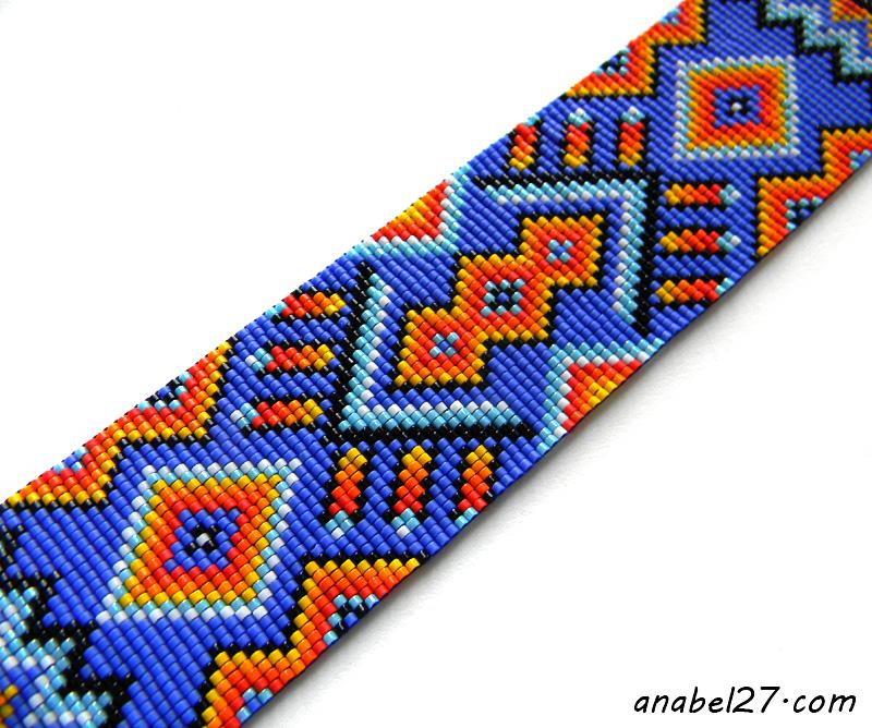loom beaded cuff beadwork bracelet ethnic style beaded jewelry