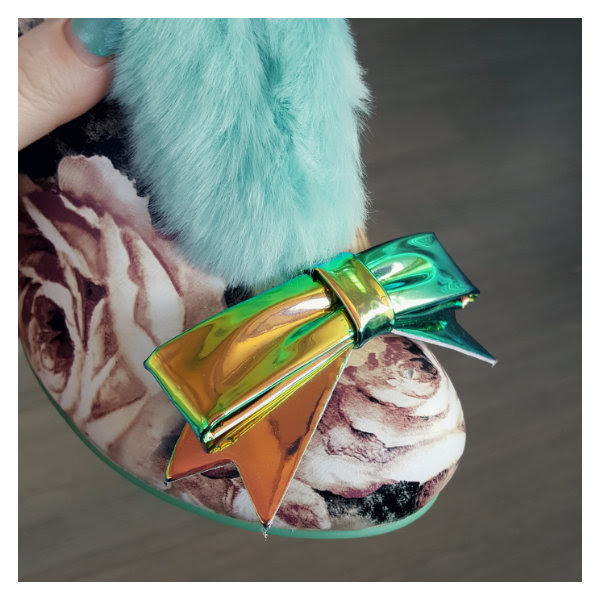 irregular choice metallic green bow