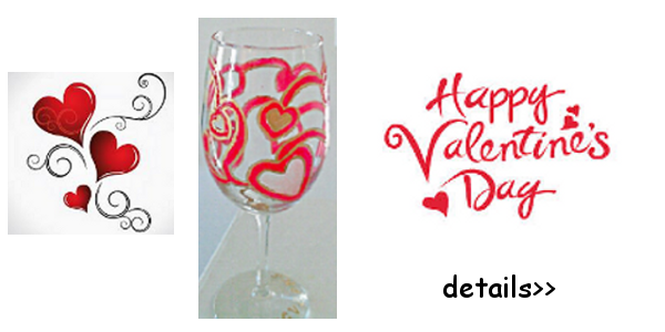 Custom Glassware Hand Painted Wine Glasses Valentine S Day Wine Glass