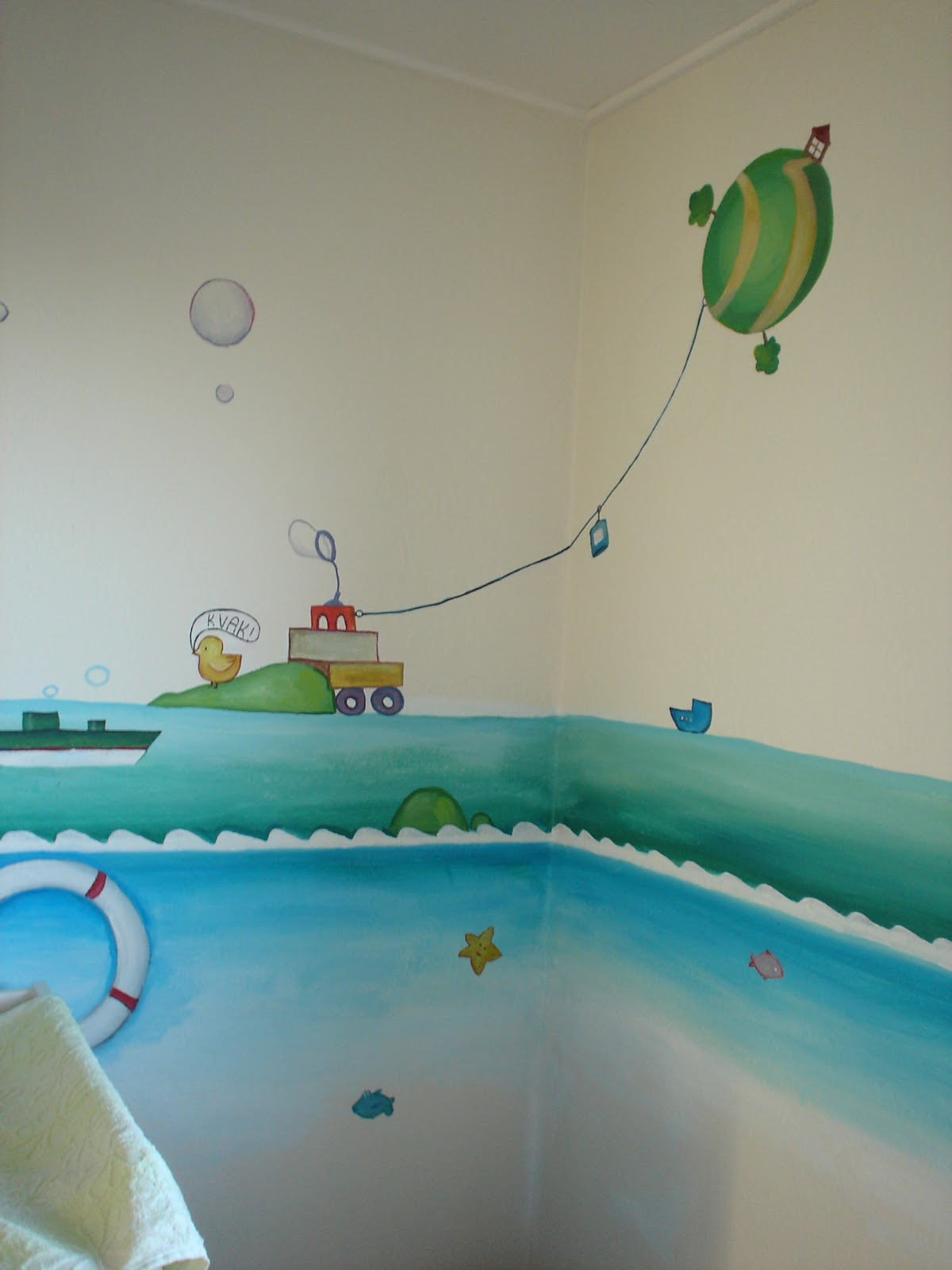 Baby Room Murals: Maggie Murals: Waves And Clouds Baby Nursery Mural