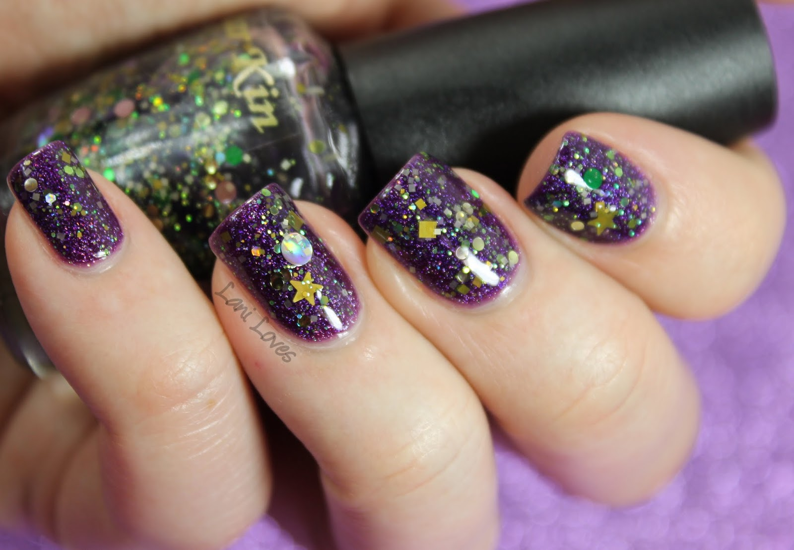 LA Girl Hologram Effect Purple Effect & Star Kin Eva nail polish swatch