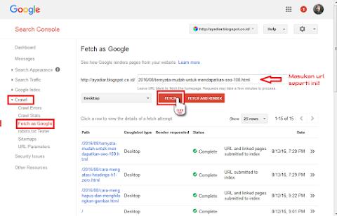 Fetch As Google Harus Dilakukan Setelah Posting Artikel