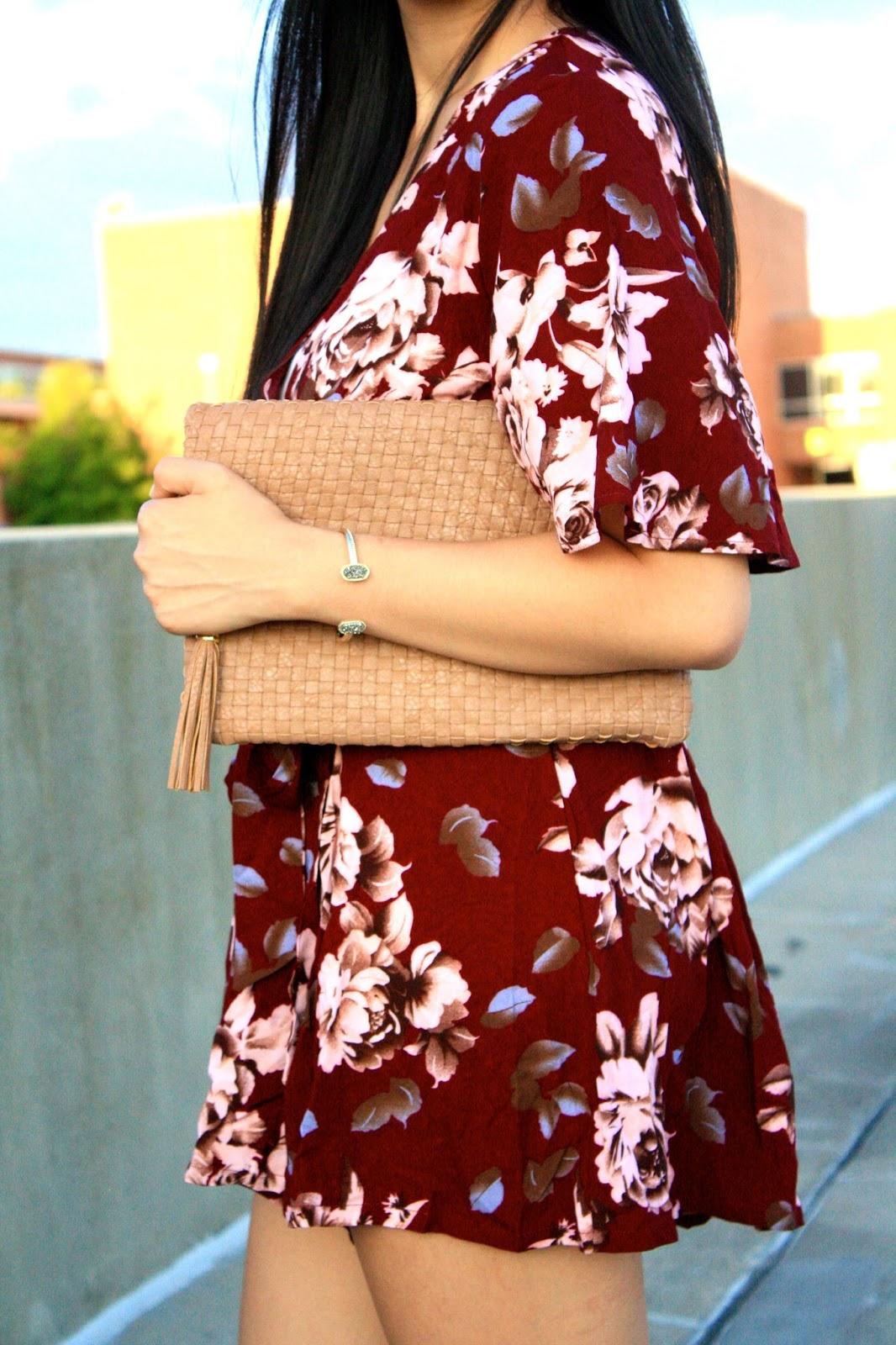 maroon floral print romper