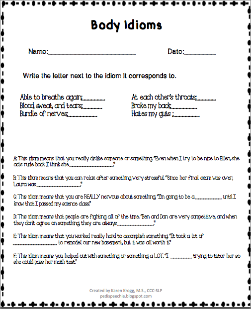 Printables Idiom Worksheets the pedi speechie idiom worksheets i put a lot of blood sweat and tears into this one so enjoy okay sorry ill stop now anyways you can purchase match at my