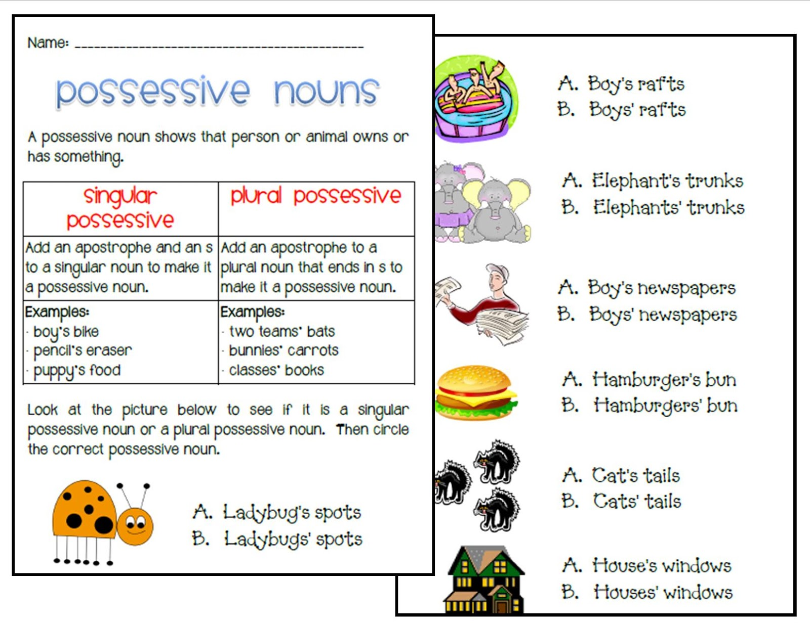 Ms. Third Grade: Singular and Plural Possessive Nouns