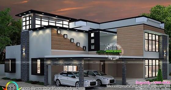 4 bhk modern contemporary residence kerala home design for 4 bhk house plan ground floor