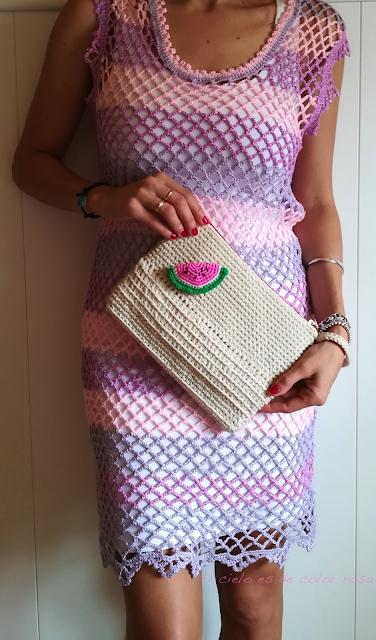bolso clutch crochet vestido ganchillo