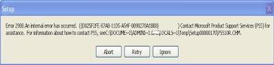 Error 2908 An internal error has occured