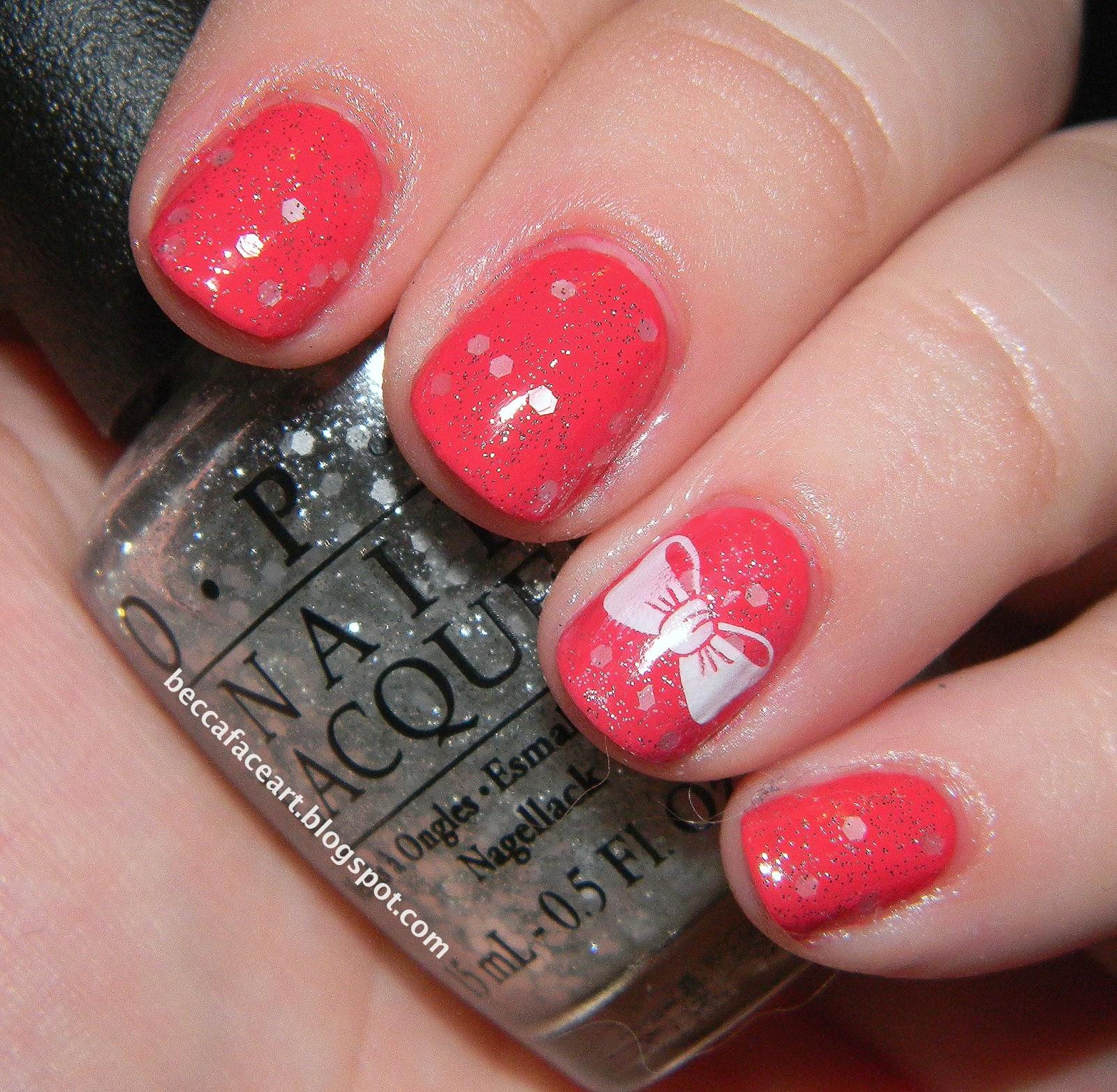 Becca Face Nail Art: Pink Bow Nails
