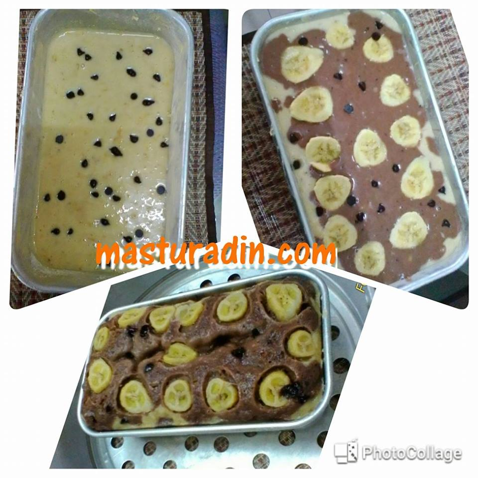 resepi kek pisang coklat moist kukus, marble, bahan bahan, cara cara, banana cake
