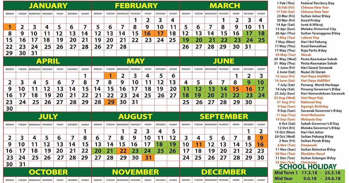 2018 Calendar Malaysia