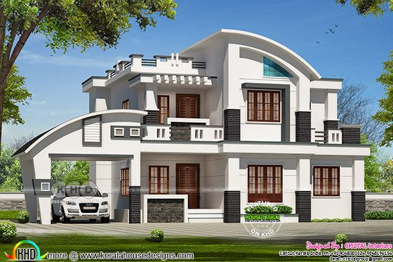 2900 square feet, 4 BHK, contemporary style curved roof mix home