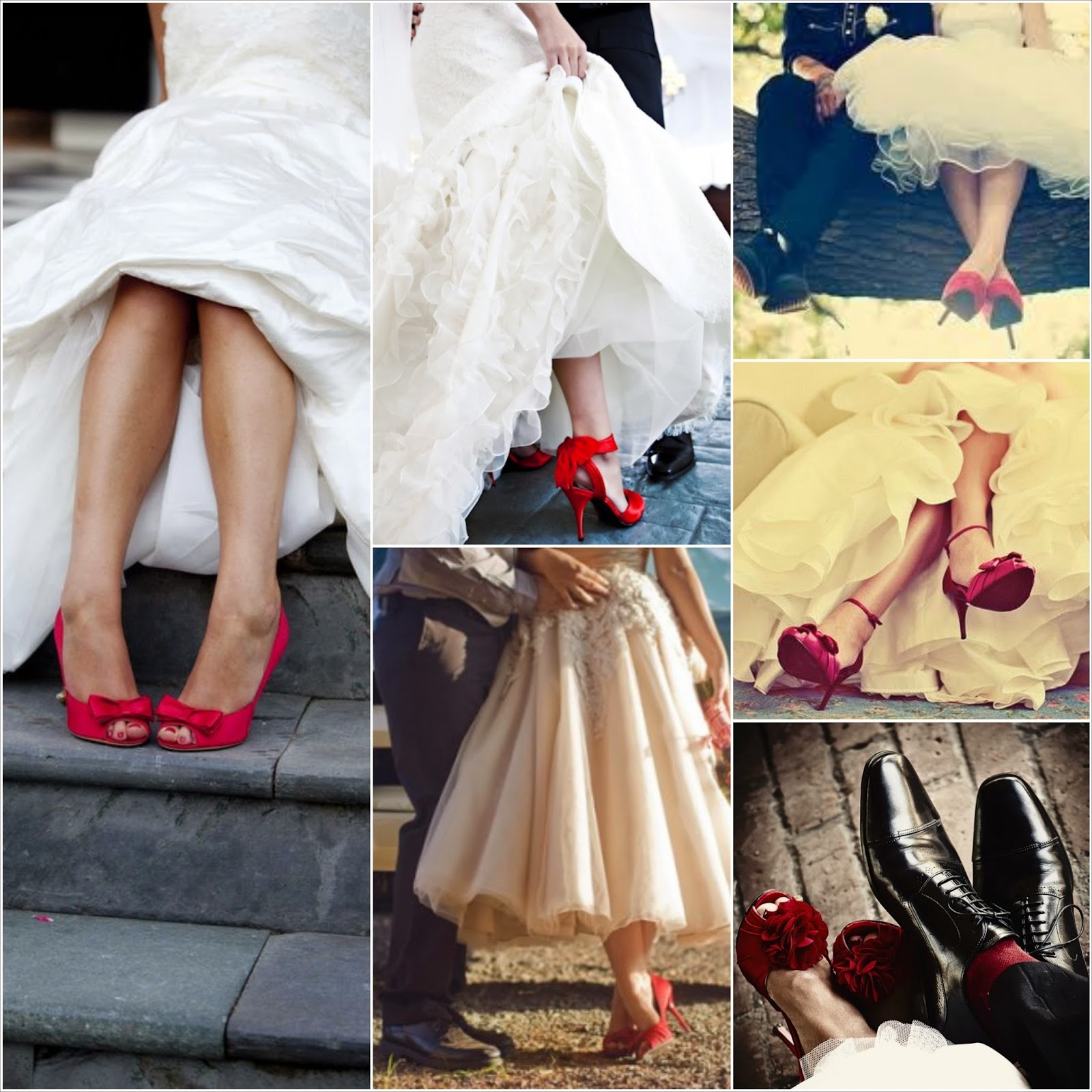 Zapatos rojos para vestido de novia