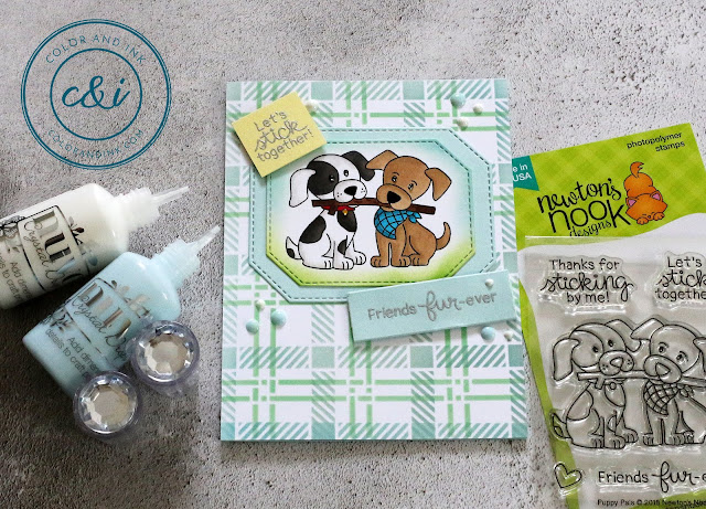 Puppy Pals Cards by May Guest Designer Anika Mercier | Puppy Pals Stamp Set, Plaid Stencil Set by Newton's Nook Designs #newtonsnook #handmade