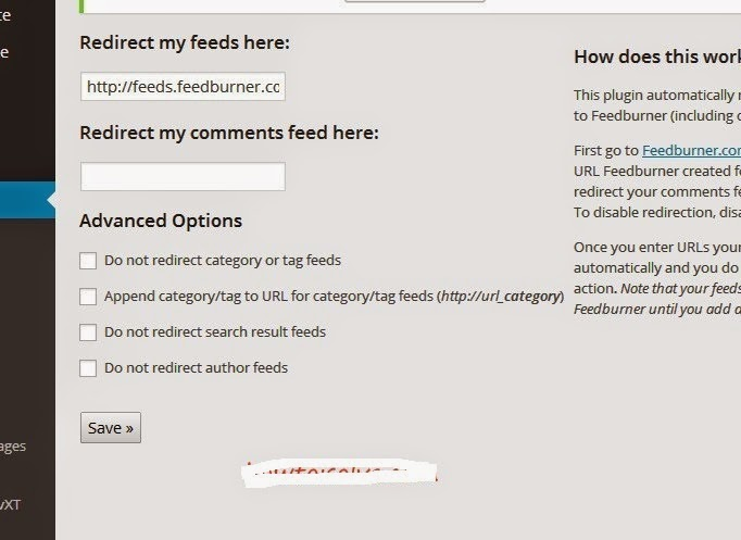 Add Feed Address in Your FD FeedButner installed Plugin