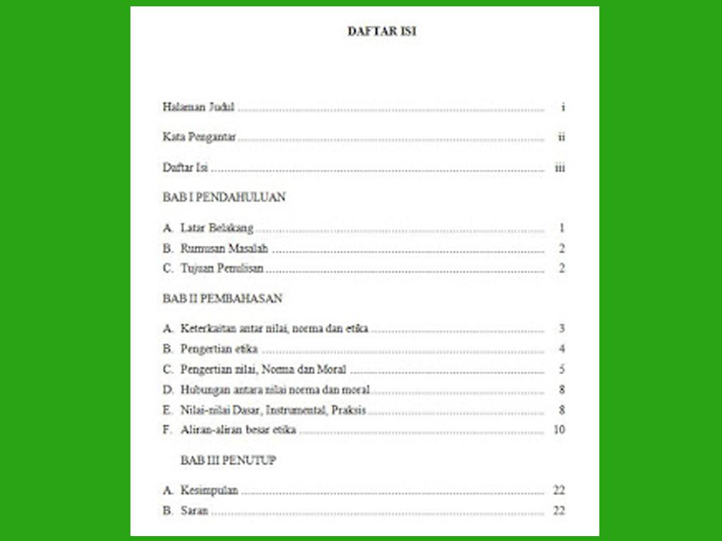 Ilmu Ekonomi Contoh Daftar Isi Makalah Yang Baik