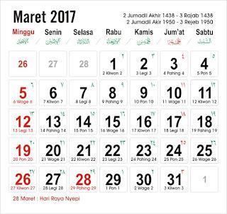 Kalender Maret 2017
