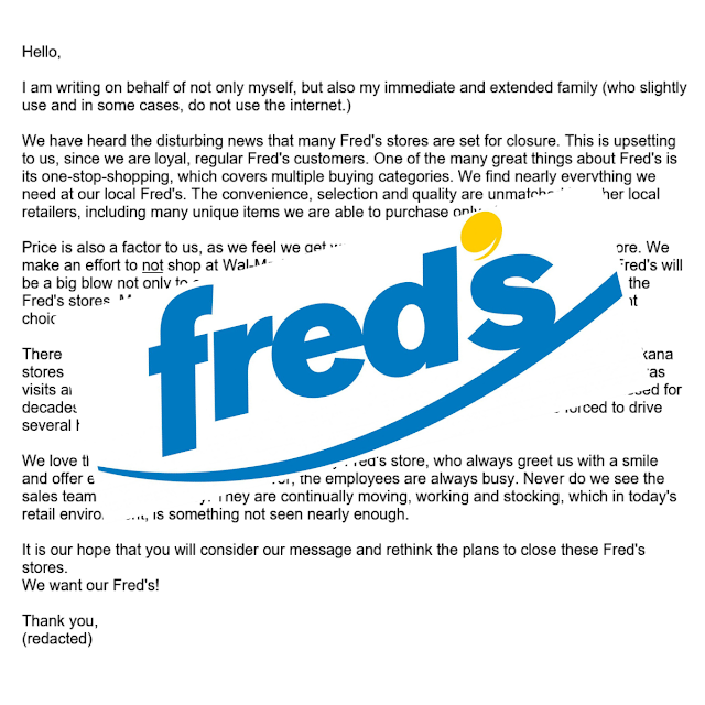As Fred's closes a Natchitoches store and 13 others in the Ark-La-Tex, a local fan of the discount store shares a heartfelt letter he sent to the company