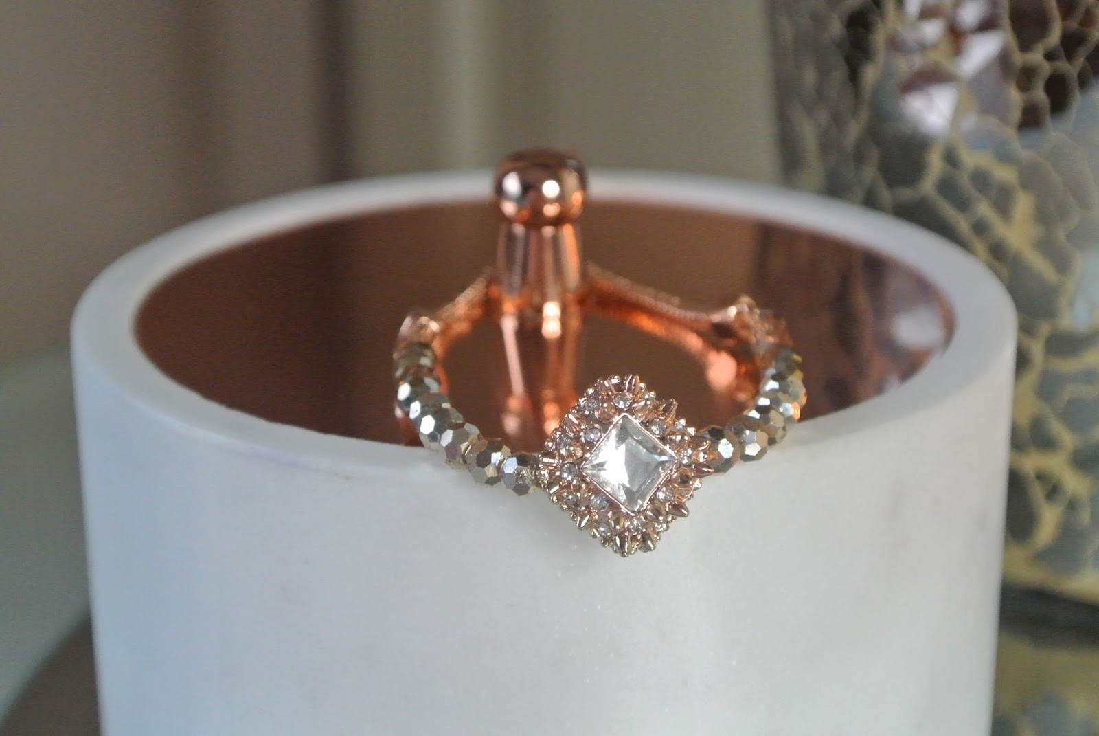 f80873ea9 I didn't have any rose gold bracelets, aside from one very fine one, that I  could pair up with other items. When I spotted the rose gold tone bracelet,  ...