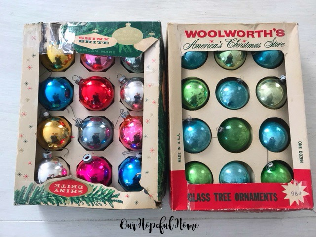 two boxes Shiny Brite glass tree ornaments