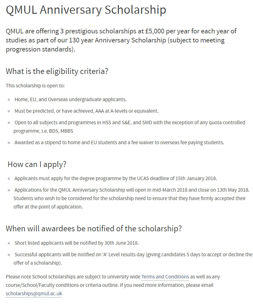 Queen Mary University of London Anniversary Scholarships for International Students in UK
