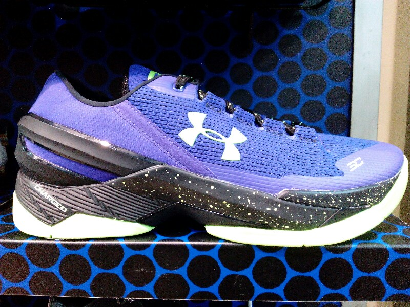 free shipping b2bd8 e112f UA Curry 2 Low in Purple and Neon Green