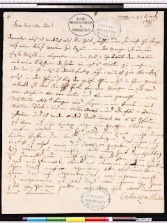 Añadido de Constanze Mozart a la carta de Wolfgang a su padre, el 25 de mayo de 1782.