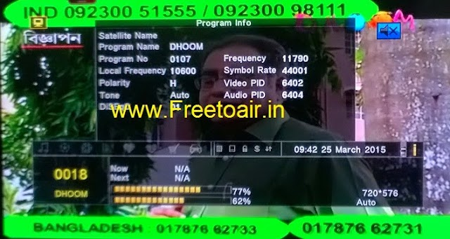 Dhoom Music Channel Free-To-Air From ABS-2 Satellite (Ku-Band)