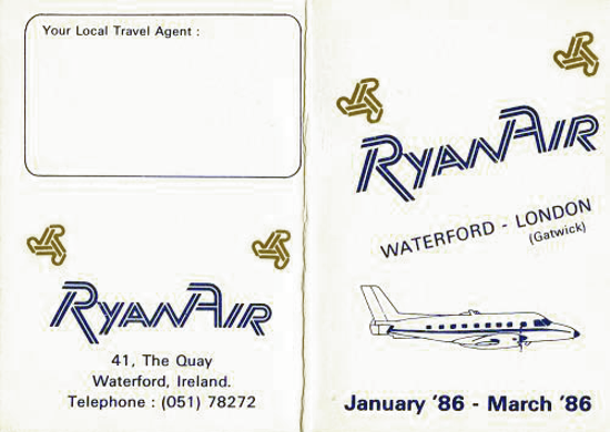 Ryanair's timetable 1986 - front